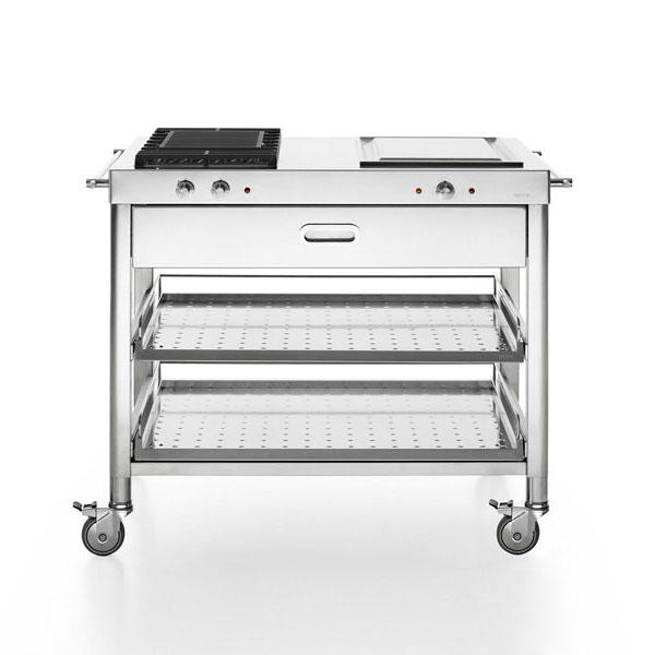 Edelstahl Küche 100 cm mit Grill und Teppanyaki