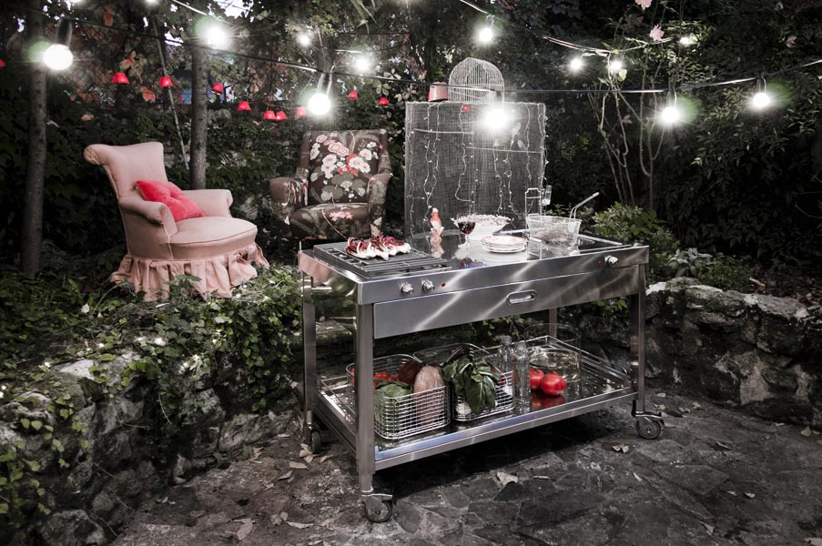 Edelstahl Outdoor-Küche 130 cm mit Grill und Friteuse