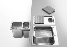 Einbau-Abfalltrennungssystem mit zwei Eimern zum Einwerfen der Abfälle vom Kochfeld