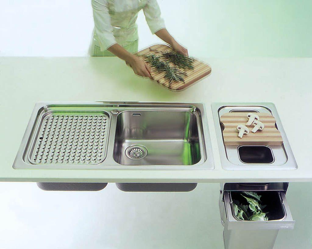 Edelstahl-Abfalleimer in Einbau-Ausführung