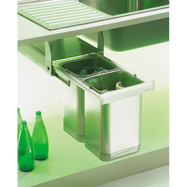 Edelstahl Abfalltrennungssystem in Unterbauausführung