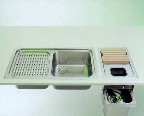 Einbauspülen mit einem oder zwei Becken, ovaler Schale, Abfalltrennsystem