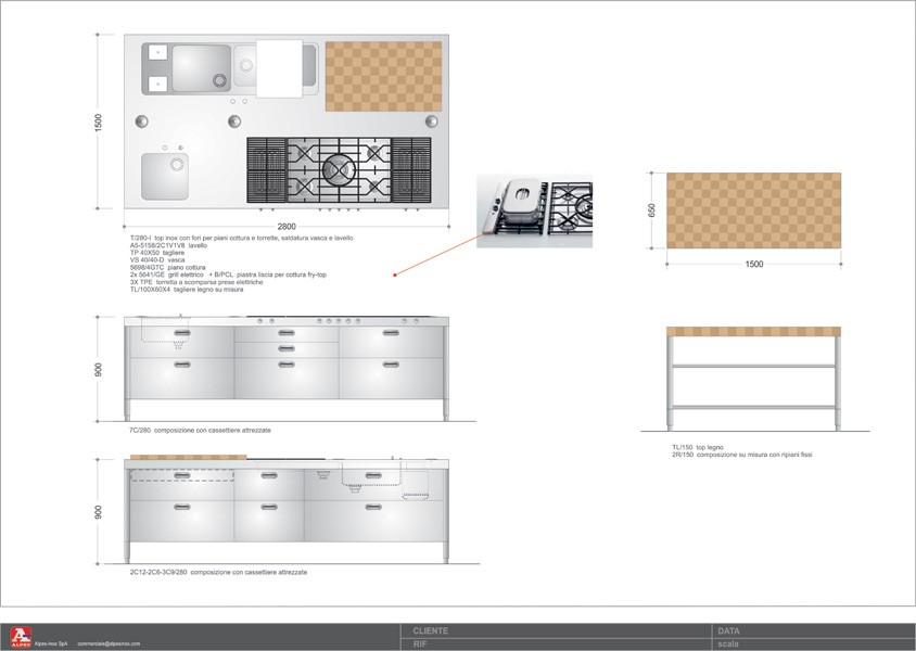 Große Edelstahl-Kücheninsel 150 x 280 cm