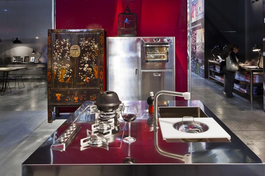 Edelstahl-Hochschrank 128 cm mit Backofen, Geschirrspüler, Kühlschrank