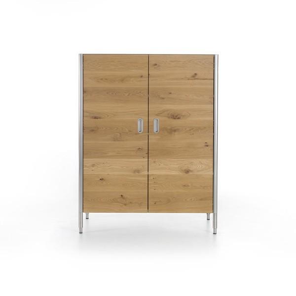 Edelstahl-Weinkühlschrank 128 cm Holztüren