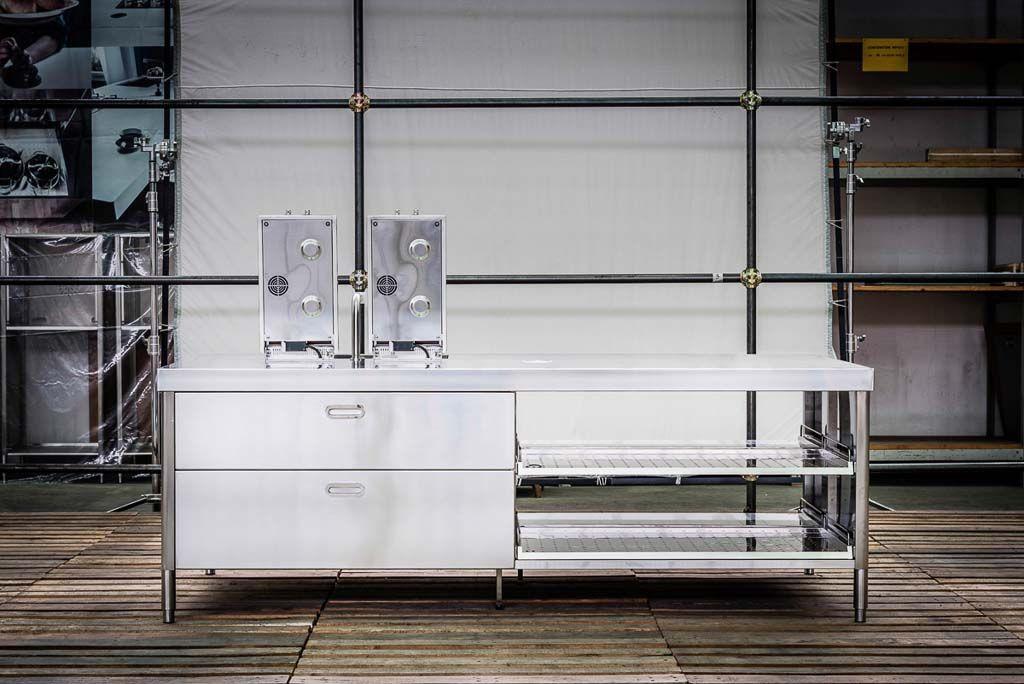 Edelstahl Küche 250 cm - Spülen, Kochen, Lagern