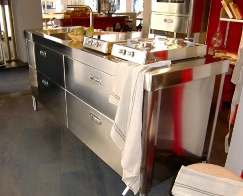 Freistehende Edelstahlküche 190 cm