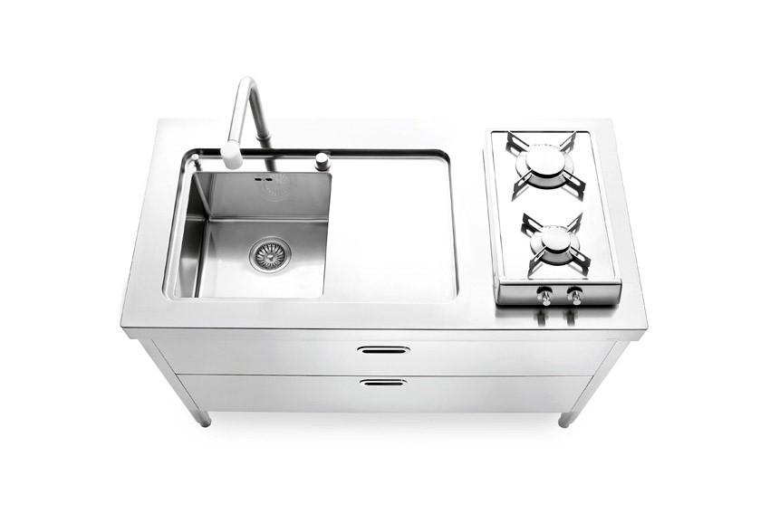 Edelstahl Küche 130 cm spülen/kochen