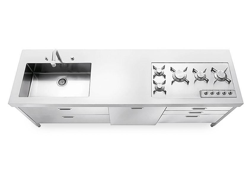 Küchenelement 220 cm zum Spülen, Kochen, Aufbewahren, Kühlschrank, Weinkeller.