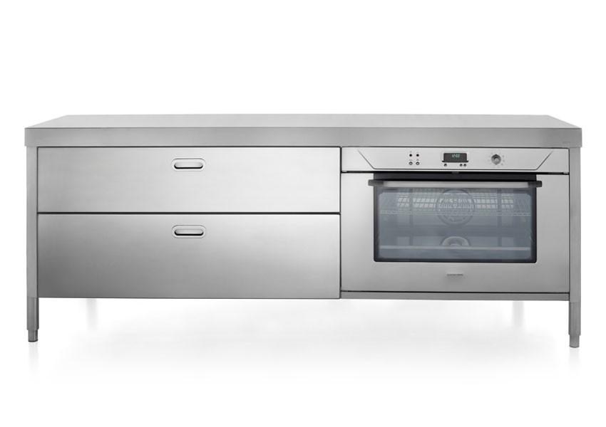 Edelstahl Küchen-Element 220 cm breit