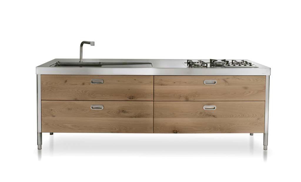 Edelstahl Küche 250 cm - Spülen, Kochen, Aufbewahren, Kühlschrank, Weinkeller