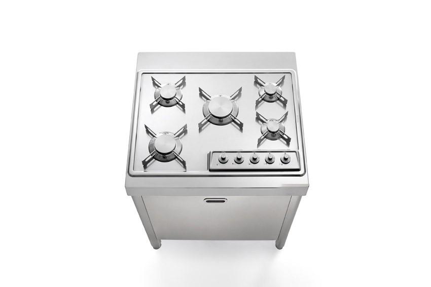 Edelstahl-Küchenelement 70 cm Gasherd