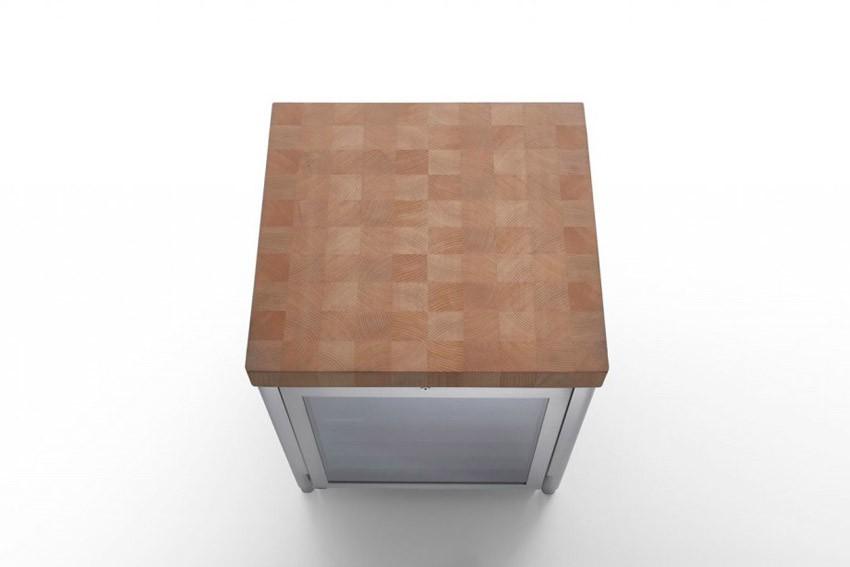 Edelstahl-Küchenelement 70 cm Weinkühlschrank