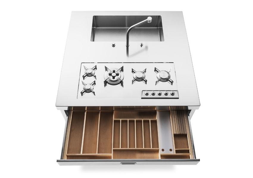 Edelstahl-Kücheninsel 130 cm