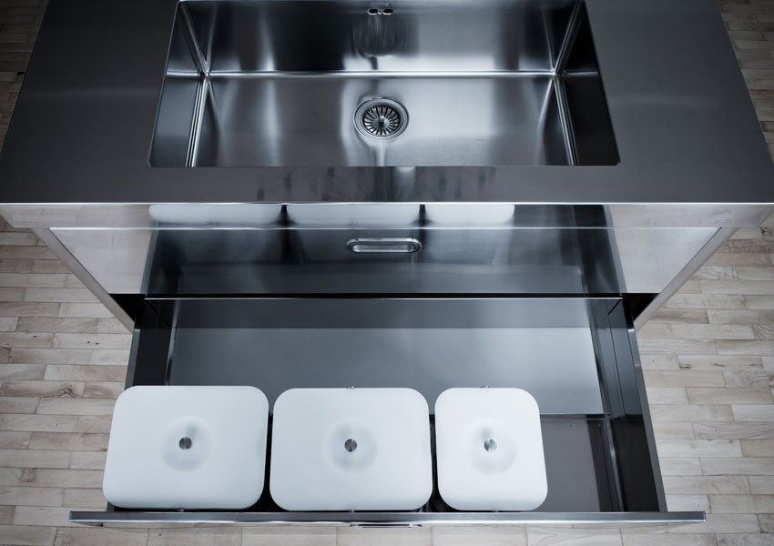 Edelstahl-Kücheninsel 130 cm Spülen Kochen Lagern
