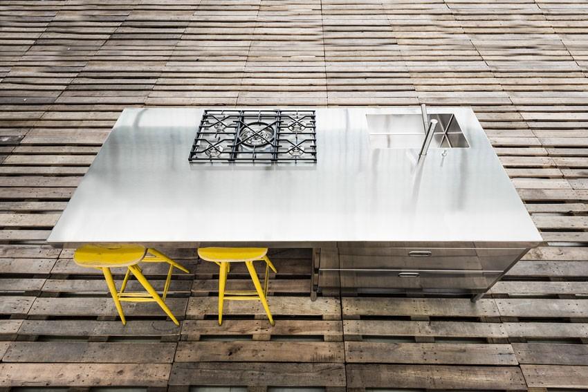 Edelstahl-Kücheninsel mit Doppeltheke 250 bis 280 cm