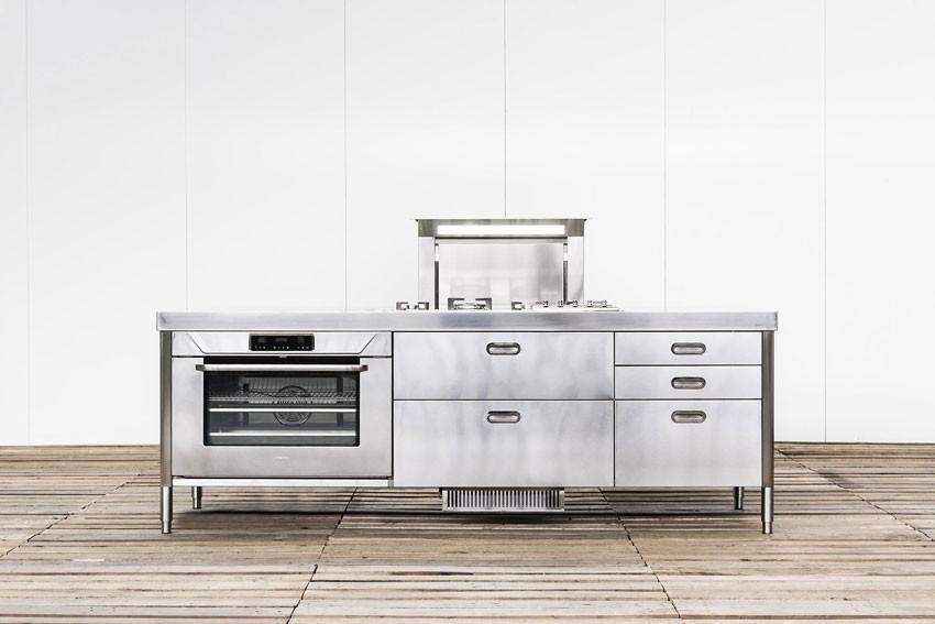 Edelstahl-Küchenelement 250 cm Einbau-Dunstabzugshaube