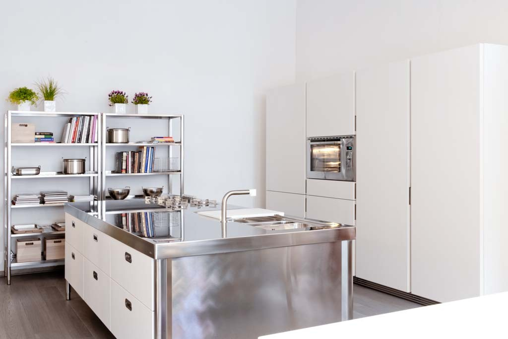 Edelstahl-Kücheninsel 280 cm