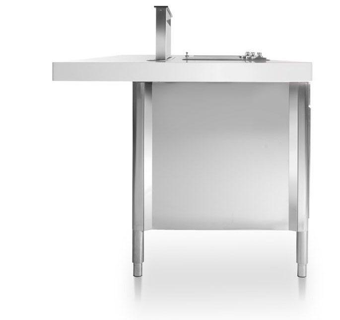Edelstahl-Kücheninsel mit Theke 280 cm