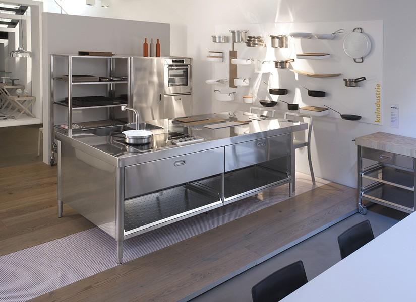 Edelstahl-Kücheninsel mit Theke 125 x 280 cm