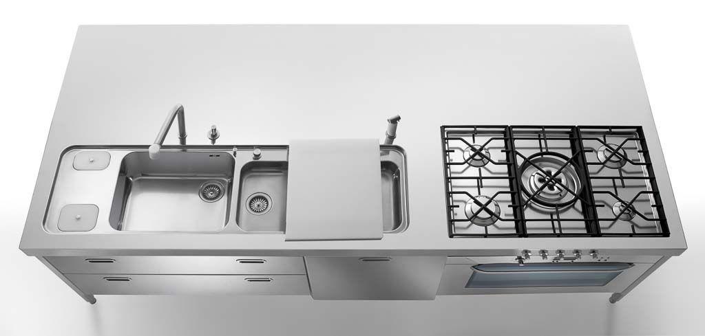 Edelstahl-Küchenelement 280 cm Spüle, Herd, Backofen