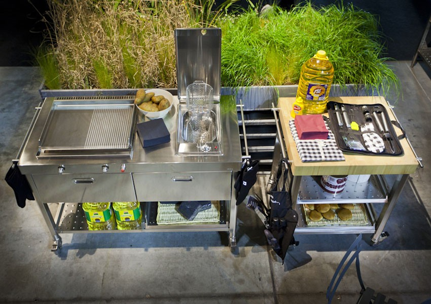 Edelstahl-Küchenwagen