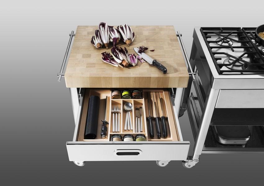 Edelstahl-Küchenwagen Platte aus Holz