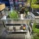 Outdoor-Küche auf Rädern, 100 cm breit, mit großem Becken
