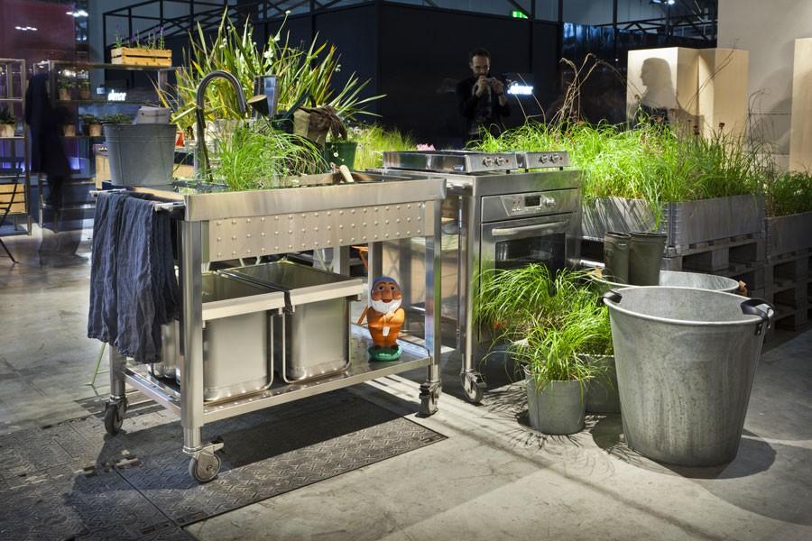 Edelstahl-Outdoor-Küche großes Becken 100 cm