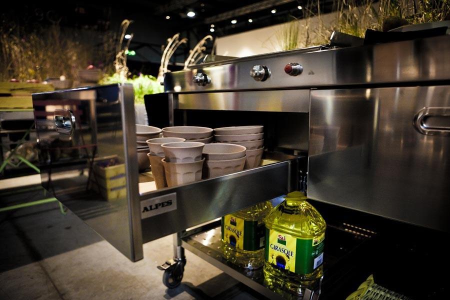 Edelstahl-Outdoor-Küche Plancha Friteuse 130 cm