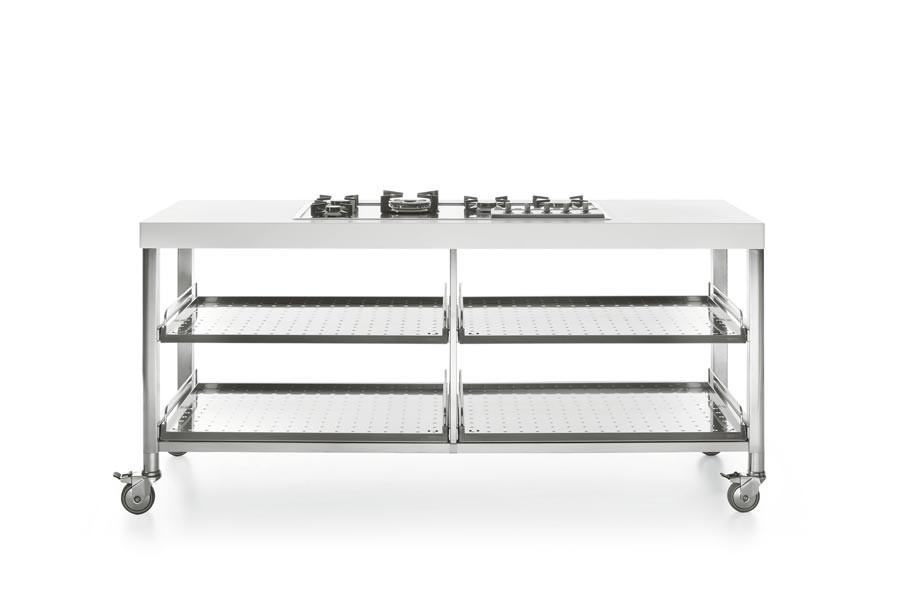Edelstahl-Outdoor-Küche auf breiten Rädern 190 cm