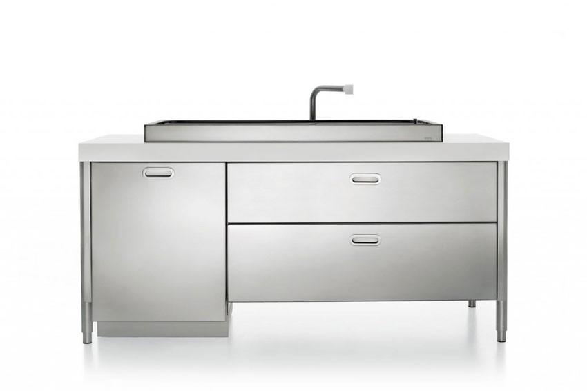 190 cm breites Edelstahl-Küchenelement zum Spülen