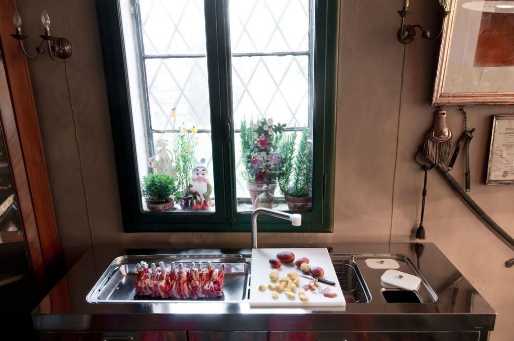 Edelstahl Küchenelement - spülen und zubereiten - 190 cm breit